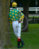 John R. Velazquez relaxing in the Paddock at Belmont Park before riding Limehouse for Dogwood Stables in the 2004 Jockey Club Gold Club which was won by Funny Cide.