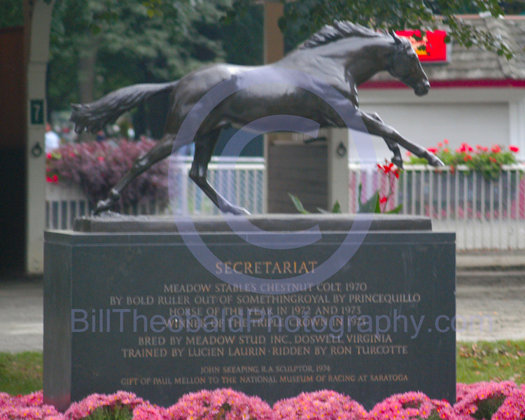 Secretariat statute in the Belmont Paddock.