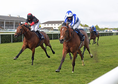 AEIRON POWER with Mark Crehan wins from left WILLYORWON'T HE 2nd in Sky Sports racing Sky 415 handicap stakes at Doncaster 1-5-21.