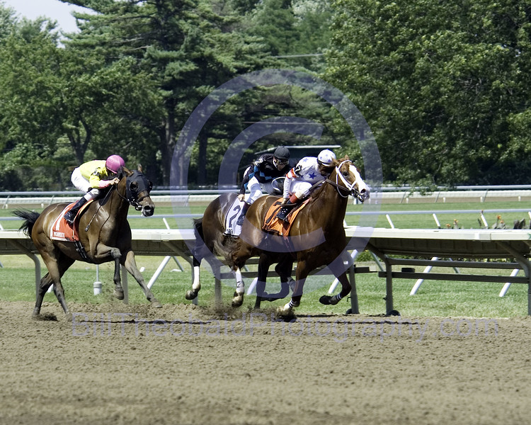 Herecomeshollywood takes the lead and draws clear in the Mr. Prospctore Stakes held at Monmmouth Park on July 7, 2007.  Ridden by John Velazquez they covered the six furlongs in a snappy 1:08 2/5.  Behind Herecomeshollywood are # 1 Suave Jazz and #2 War Tempo.