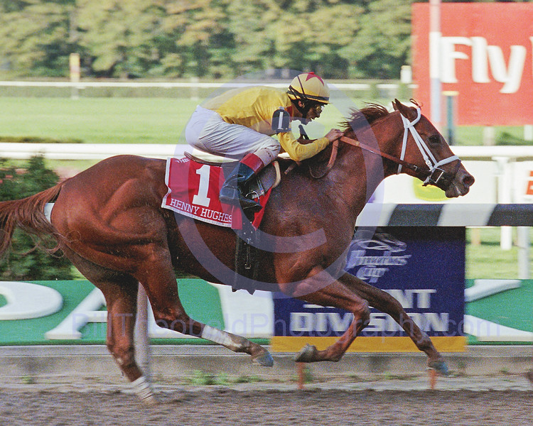 Henny Hughes winning the 2006 Vosburgh Handicap at Belmont Park.  He easily defeated a field including the reining Breeders' Cup Sprint Champion Silver Tree.