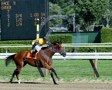 Westpoint Stables Dream Rush on her way to Victory in the Grade I Darley Test  Stakes at Saratoga Race Course.  Eibar Coa had her on the lead from gate to wire while setting all of the fractions and nobody was near her at the finish.