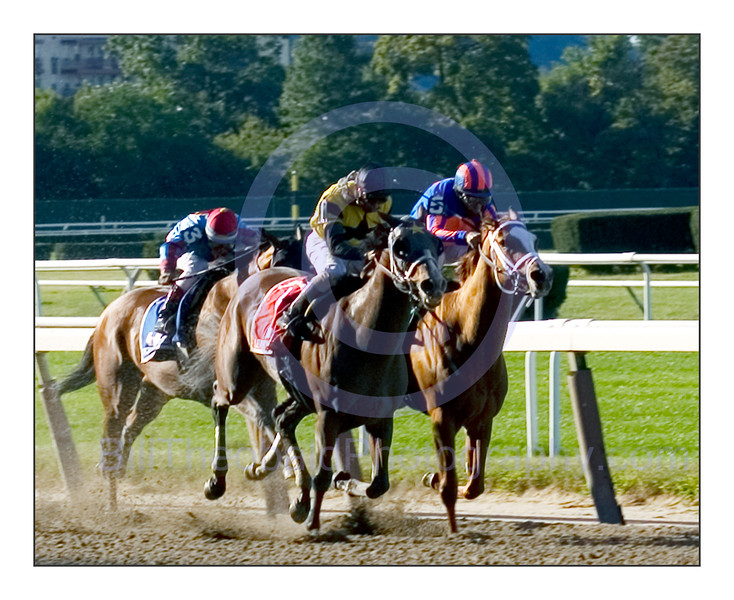 Lear's Princess ridden by Eibar Coa passes Rags to Riches and spoils her return to the races in the 112th edition of the Grade I The Gazelle stakes at Belmont Park.
