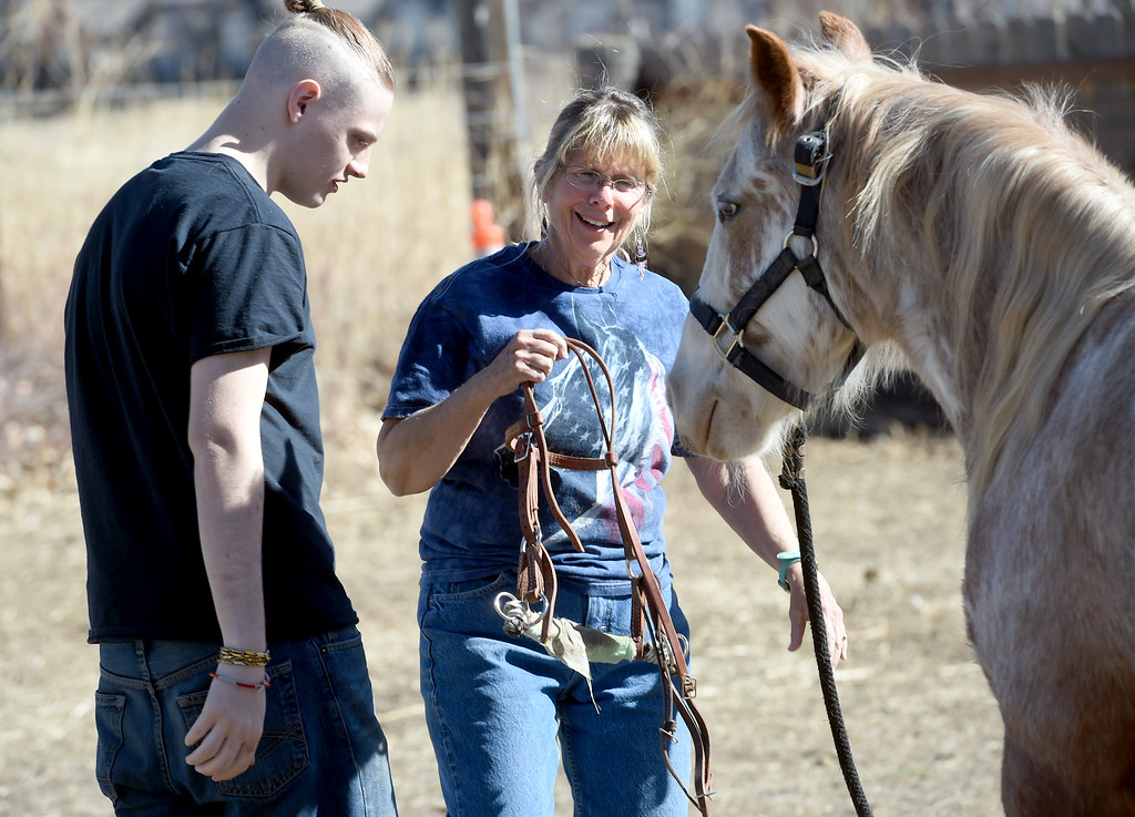 . David Wagner works with trainer, Pam Thode, to get to know Chiquita the horse. Sunny Horse Foundation, a Broomfield nonprofit, wants to host a six-week horse therapy program in April that will benefit local veterans. Cliff Grassmick  Staff Photographer  February 16, 2017