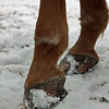Without pads<br /> <br /> Ice accumulation created by snow being stuck and compressed in the shoe. <br /> <br /> Just imagine you would switch from running shoes to high heels and go playing soccer - or run with your buddies.