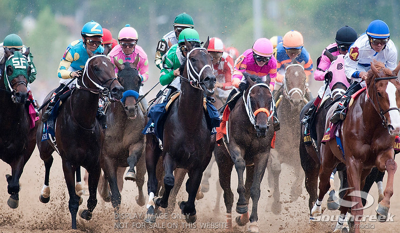 All twenty horse bunch up at the first turn of the 137th running of the Kentucky Derby  at Church Hill Downs in Louisville,KY. Animal Kingdom won in front of a record crowd of 164,858.