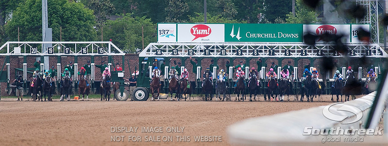 Starting gate for the 137th running of the Kentucky Derby  at Church Hill Downs in Louisville,KY. Animal Kingdom won in front of a record crowd of 164,858.