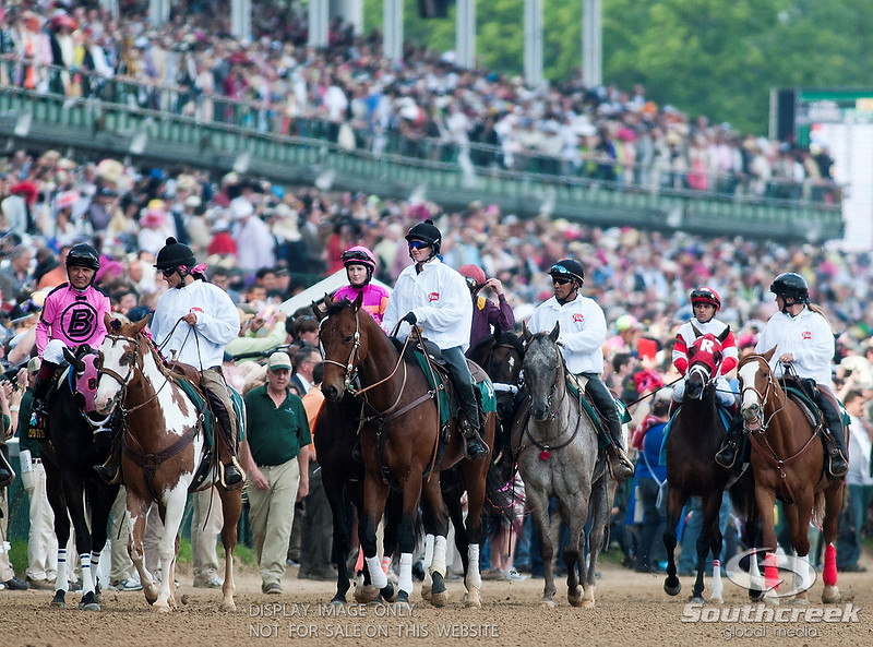 Jockey's make there way from the paddock prior to the 137th running of the Kentucky Derby  at Church Hill Downs in Louisville,KY. Animal Kingdom won in front of a record crowd of 164,858.