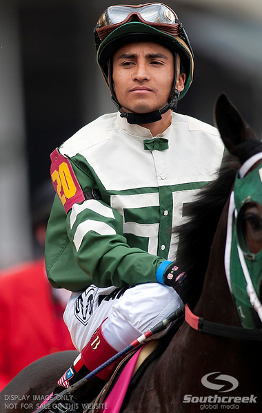 Jockey Rafael Bejarano (20) aboard Watch Me Go  prior to the 137th running of the Kentucky Derby  at Church Hill Downs in Louisville,KY. Animal Kingdom won in front of a record crowd of 164,858.