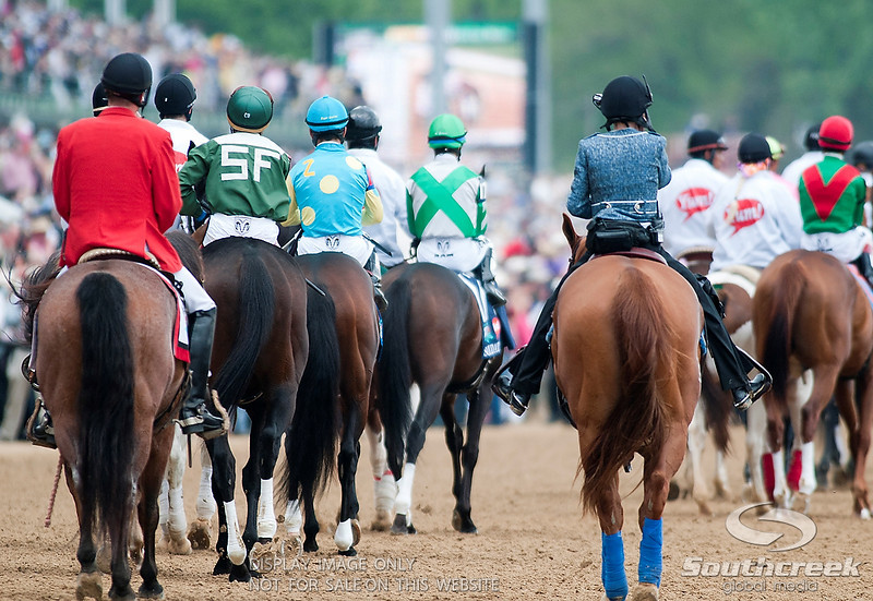 Jockeys on there way to the gate prior to the 137th running of the Kentucky Derby  at Church Hill Downs in Louisville,KY. Animal Kingdom won in front of a record crowd of 164,858.