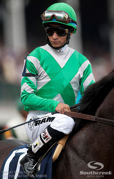 Jockey Alan Garcia (17) aboard Soldat  prior to the 137th running of the Kentucky Derby  at Church Hill Downs in Louisville,KY. Animal Kingdom won in front of a record crowd of 164,858.