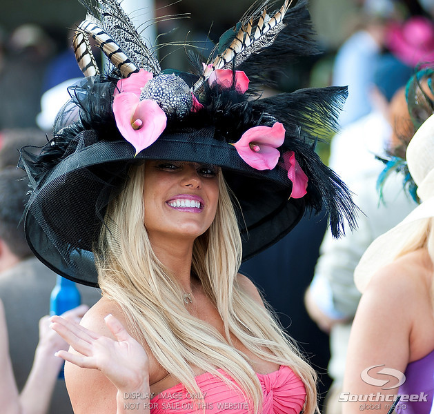 Lady's showing off their Derby hats  prior to the 137th running of the Kentucky Derby  at Church Hill Downs in Louisville,KY. Animal Kingdom won in front of a record crowd of 164,858.