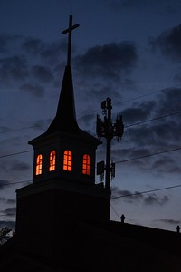 Chapel spire and cell tower