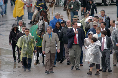 Paddy O'Prado heads to the paddock for the Kentucky Derby