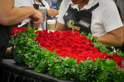 Individually hand-tied  roses all point up when draped over the winner