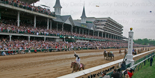 Jockey Calvin Borel atop Mine That Bird crosses the finish line to win the 135th running of the Kentucky Derby on May 2, 2009 at Churchill Downs in Louisville, Kentucky.