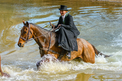 Obviously enjoying herself, Side Saddle Rider Maureen Brittel crossing Goose Creek with the Middleburg Hunt at the Middleburg Christmas Parade.
