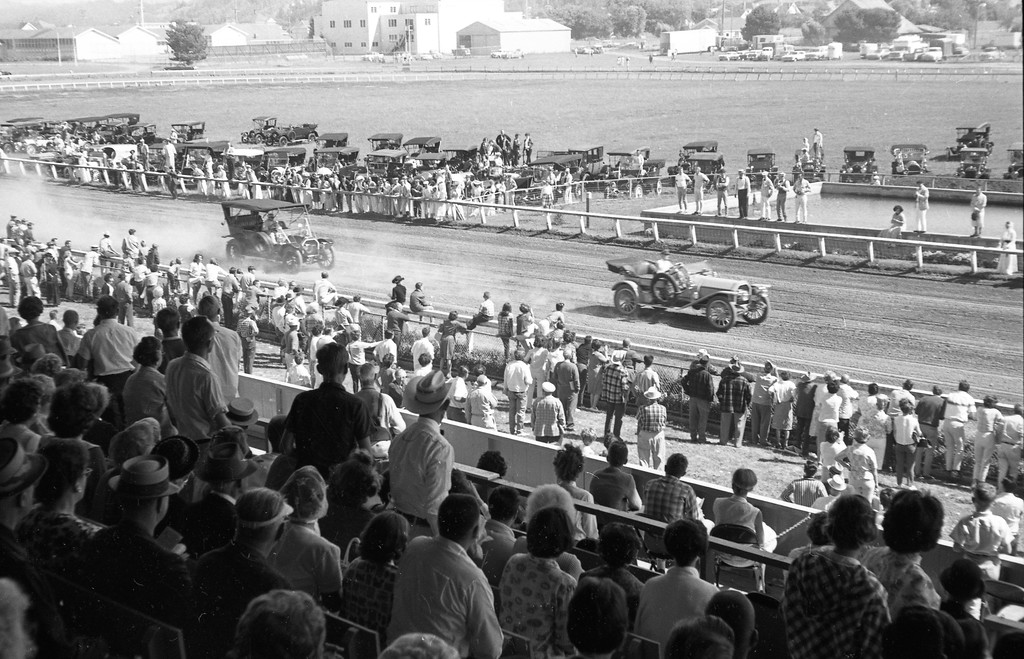 . Reno casino millionaire Bill Harrah in a 1908 Stearns (top down) and Fremont auto enthusiast Ben Mozetti in a 1909 Stearns raced around the Humboldt County track during the county fair in August 1965. Harrah flew to Humboldt County especially for the race, which was declared a draw. (Times-Standard file photo)