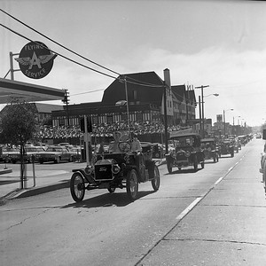 Horseless Carriage Club members gathered at the Eureka Inn (background) prior to leaving for a parade throughout downtown Eureka before heading south to Williams Grove. This gathering took place in mid-August 1965.  (Times-Standard file photo)