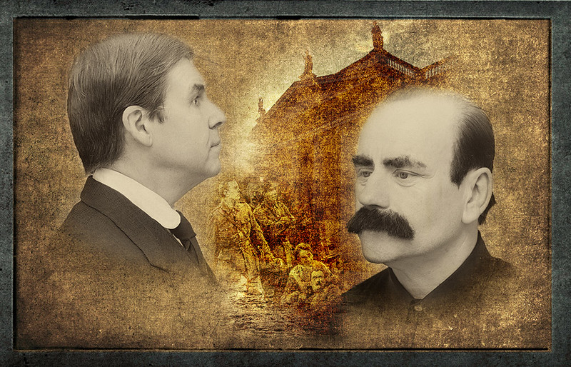 Declan Brennan (left) as Patrick Pearse and MJ Sullivan (right) as James Connolly