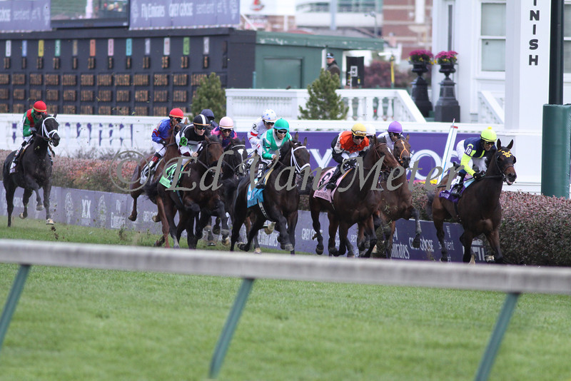 Madman Diaries with Jeffrey Sanchez leads the field past the stands for the first time in The Breeders' Cup Juvenile Turf at Churchill Downs. 11.06.2010.<br /> photo Ed Van Meter