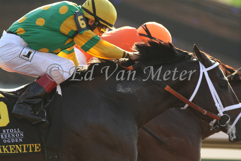 Hoofit with Edgar Prado (orange cap) holds off a fast closing Aikenite with John Velazquez (yellow cap) to win The  Stoll Keenon Ogden Phoenix (grIII) at Keeneland Race Course. 10.07.2011