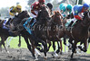 Eventual winner, Breaking Ball with Julien Leparoux (burgundy cap) at the start of the 4th race at Keeneland Race Course. 10.05.2012