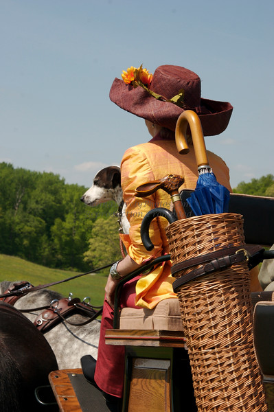 Winterthur Point to Point Carriage Driver with Flower Hat, Dog and Umbrella Basket