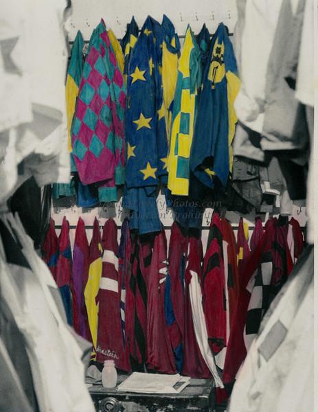 Hand Colored Jockey Silks, Saratoga Springs Racetrack, NY