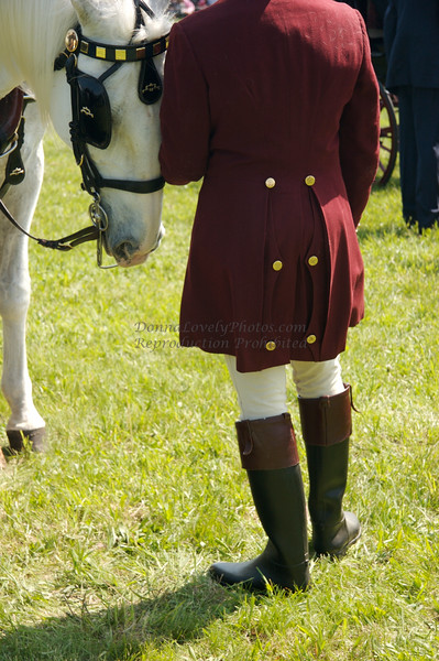 Winterthur Point to Point Groom with White Horse Nuzzling