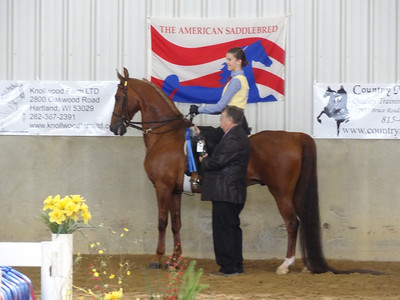 Jordan and Chipango receiving their first place award for equitation ages 14 thru 17.