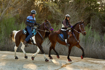 Twyla (left) and Annakate at the Heart of the Hills endurance ride, Bandera, Texas, in March 2012. Photo by John Nowell, Remuda Photography