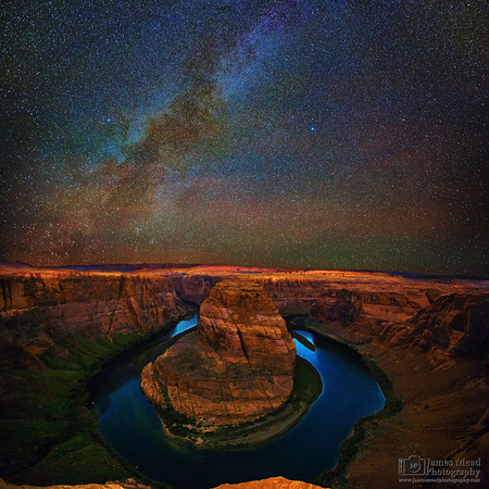 """Mysteries of the Bend,"" the Milky Way over Horseshoe Bend and the Colorado River, Page, Arizona"