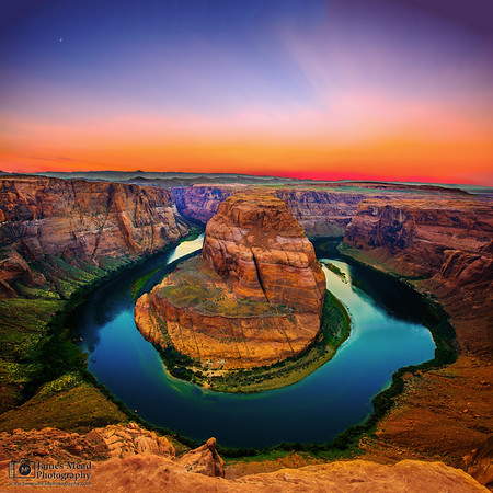 """""""The Cowboy's Hat"""" Sunset Moonset over Horseshoe Bend and the Colorado River. Glen Canyon, Page Arizona"""
