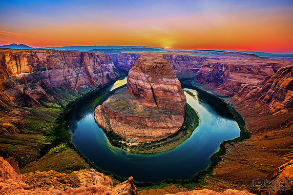 """""""Last Light over the Colorado,"""" Sunset over Horseshoe Bend and the Colorado River. Glen Canyon, Page, Arizona"""