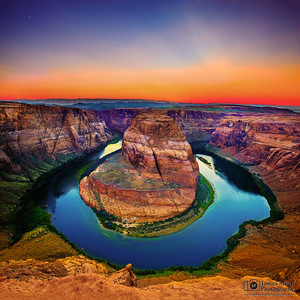 """As the Sun and Moon Fade,"" Horseshoe Bend Sunset, Glen Canyon, Page, Arizona"