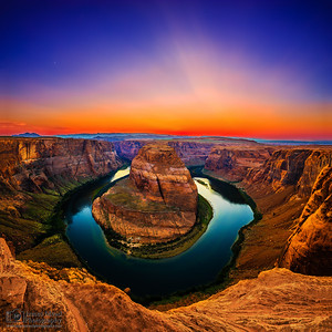 """Around the Bend,"" Moonset Sunset over Horseshoe Bend and the Colorado River. Glen Canyon, Page, Arizona"