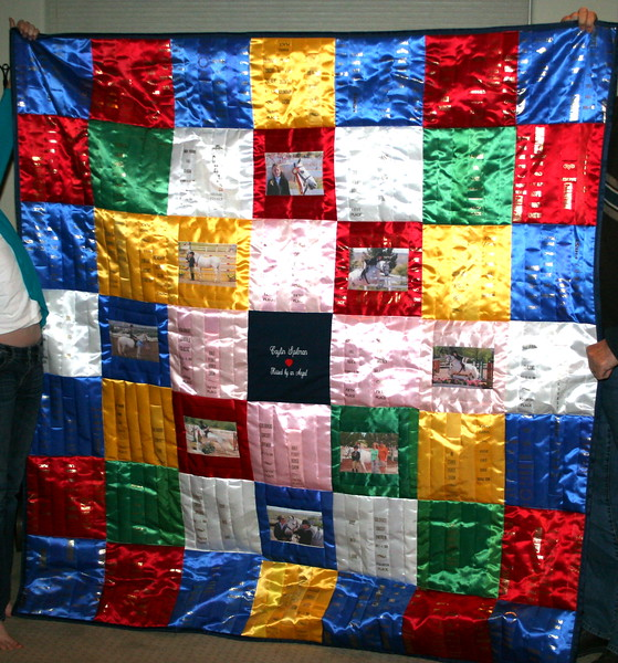 Ribbon Quilt with images of rider.