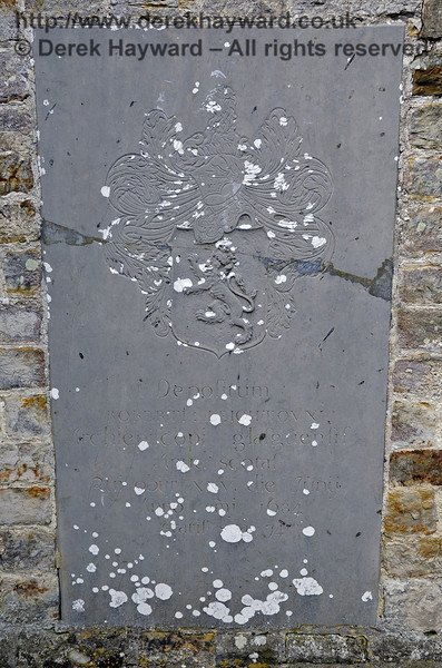 """A memorial on the outside southern wall of the church:<br /> <br /> [In Latin] """"Robert Leighton, Archbishop of Glasgow, who died 20th June 1684, aged 74""""<br /> <br /> St Giles Church, Horsted Keynes 06.04.2013  6666"""