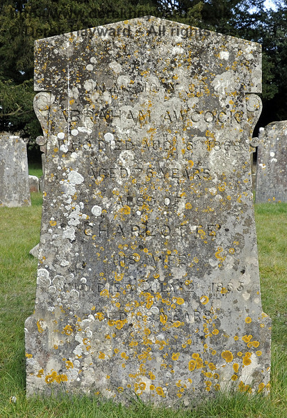 "One of the gravestones relating to the Awcock family in the churchyard:<br /> <br /> ""In memory of Abraham Awcock who died August 8th 1868, Aged 76 Years.<br /> <br /> Also of Charlotte, his wife, who died July 12th 1865, Aged 68 Years.""<br /> <br /> St Giles Church, Horsted Keynes 06.04.2013  6667"