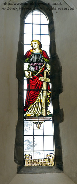 """A memorial window """"In memory of Lucy Lois Rodwell whose aim in life was the Glory of God"""".   <br /> <br /> St Giles Church, Horsted Keynes  06.04.2013  6658"""