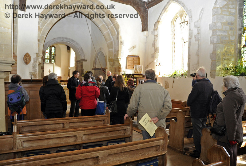 A tour of St Giles Church, Horsted Keynes, organised by the Bluebell Railway, being conducted by the Rector.  06.04.2013  6591