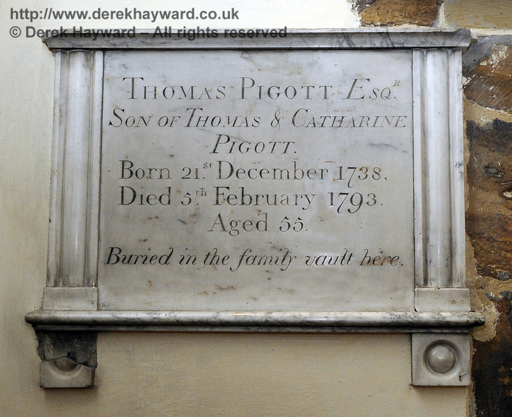 """Thomas Pigott Esq, Son of Thomas and Catharine Pigott.  Born 21st December 1738, Died 5th February 1793.  Aged 55.<br /> Buried in the family vault here.""<br /> <br /> St Giles Church, Horsted Keynes.  06.04.2013  6650"