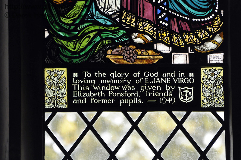 A memorial window in memory of E Jane Virgo, given by Elizabeth Ponsford, friends and former pupils, 1949. See also the previous images.  <br /> <br /> St Giles Church, Horsted Keynes 06.04.2013  8639