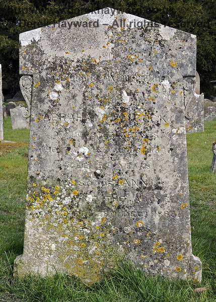 """One of the gravestones relating to the Awcock family in the churchyard:<br /> <br /> """"[Top dedication unclear, possibly includes """"Remembrance""""] <br /> Abraham Awcock of Horsted Keynes, who died 18th August 1876, aged 54 years.<br /> <br /> Also of Ann, widow of the above, who died 28th December 1888, aged 62 years""""<br /> <br /> [Bottom dedication unclear, includes """"...the Blessing.....the Glorious Appearing of the..... and our Saviour Jesus Christ.""""<br /> <br /> St Giles Church, Horsted Keynes 06.04.2013  6669"""