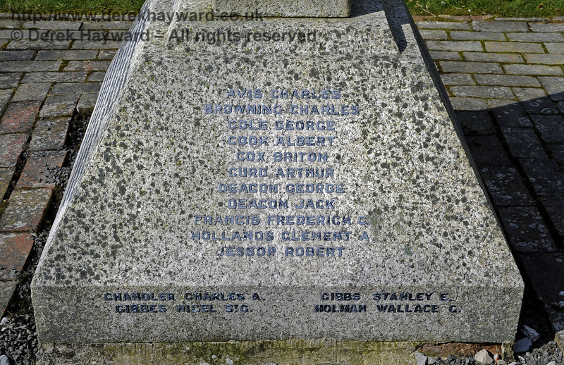 The inscriptions on the War Memorial at St Giles Church, Horsted Keynes.  <br /> Killed in the 1914 - 1918 war:<br /> Avis Charles<br /> Browning Charles<br /> Cole George<br /> Cook Albert<br /> Cox Briton<br /> Curd Arthur<br /> Deacon George<br /> Deacon Jack<br /> Francis Frederick C<br /> Hollands Clement A<br /> Jessop Robert<br /> <br /> And from the 1939 - 1945 war:<br /> Chandler Charles A<br /> Gibbes Nigel St.G<br /> Gibbs Stanley E<br /> Holman Wallace G<br /> <br /> 06.04.2013  6693