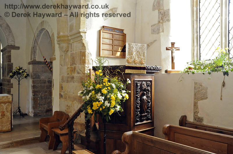 The early 20th Century pulpit of St Giles Church, Horsted Keynes is carved with figures of Christ, St Joseph, St Peter, St Augustine and St Francis, and is the work of Captain Louis Wyatt whose family lived at Treemans from 1623 before moving to Wyatts.  06.04.2013  6633
