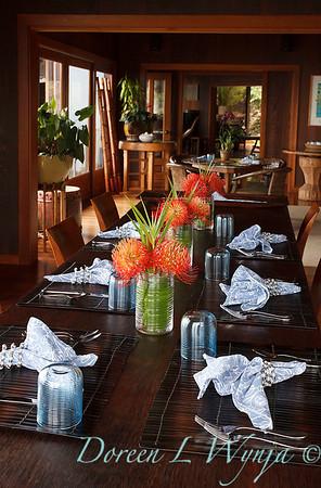 Leucospermum reflexum hybrid 'So Exquisite' cut flowers on dining table_6807