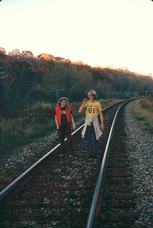 Returning from fishing along the railroad tracks across from Horton's Alfred, NY house. 1980 or 1981