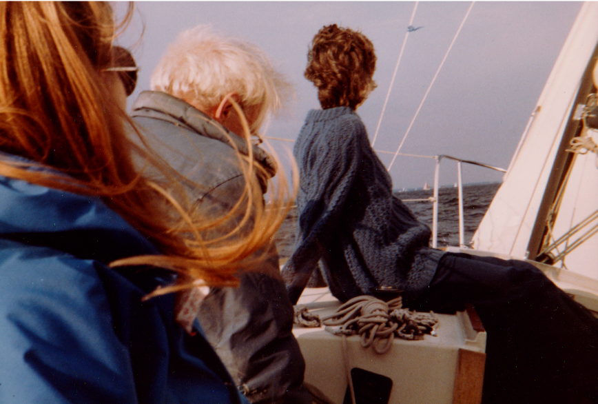 Sailing with Borsts, Flushing Bay, NY.  10/1985.